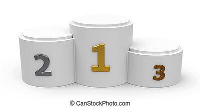 White cylinder podium with three rank places, three-...