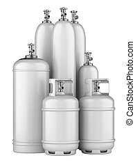 white cylinders with compressed gas - propane cylinders with...