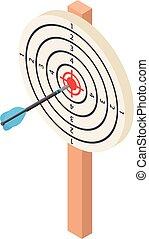 White darts target icon, isometric style