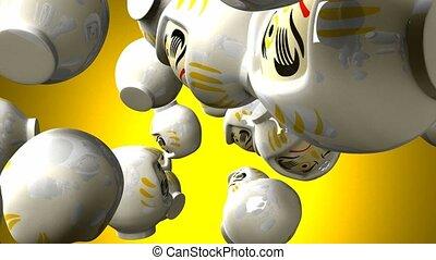 White daruma dolls on yellow background. 3DCG render...
