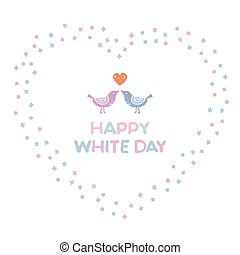 White day, heart shaped wreath with little flowers and birds