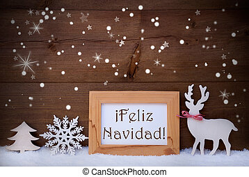 White Decoration On Snow, Feliz Navidad Means Merry Christmas