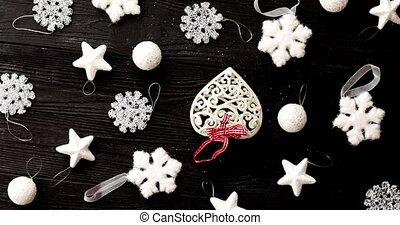 White decorations for Christmas tree - From above view of...