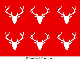 White deer head silhouette on a red background