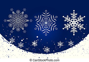 White delicate snowflakes on a blue background set
