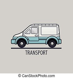 White delivery icon. Flat style. Vector illustration