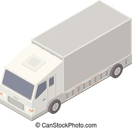 White delivery truck icon, isometric style