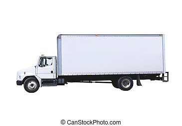 This is a picture of a typical six wheel city delivery cargo vehicle with a blank white van box. isolated on white.