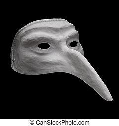 White dell'arte mask isolated on black background