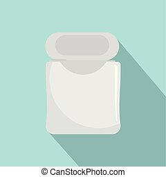 White dental floss icon, flat style