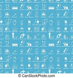 White dental icons seamless