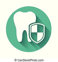 White Dental protection icon isolated with long shadow. Tooth on shield logo. Green circle button. Vector Illustration
