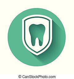 White Dental protection icon isolated with long shadow. Tooth on shield logo icon. Green circle button. Vector Illustration