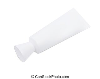 blank tube - White dentifrice, toothpaste cream blank tube.