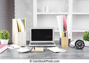 White designer workspace closeup