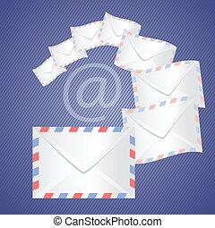 White detailed envelopes - colorful illustration with white...