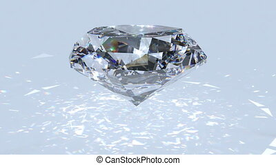 White diamond dispersion footage. Crystal clean gem. Round diamond cut animation with light rainbow on surface. Silver bright video. 3D animation of shiny gem stone
