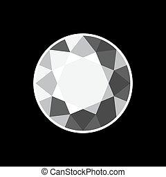 White Diamond Icon on Black Background. Vector