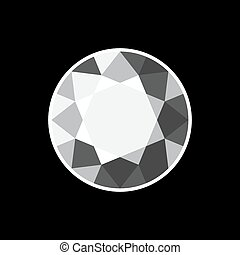 White Diamond Icon on Black Background. Vector