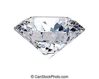 White diamond side view on white background