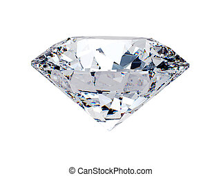 White diamond side view on white background