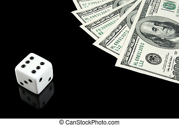 White dice and money on black background