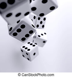 white dice cubes on a light background