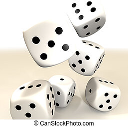 white dice - Six white casino dice falling on to a white...