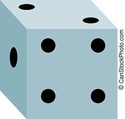 White dice, illustration, vector on white background.