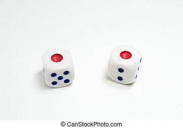 White dice isolated on white background