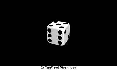 White dice on black background, animation.