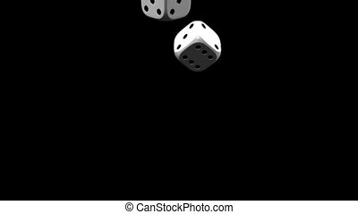 Dice - White Dice On Black Background. 3D render Animation....