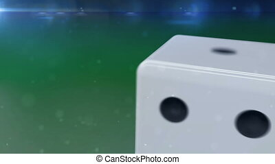 """""""White dice rolling in motion"""" - """"White dice with a black..."""