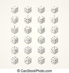 White dice vector set