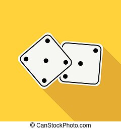 White dices icon in flat style