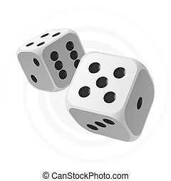 Vector illustration of flying white dices with black spots
