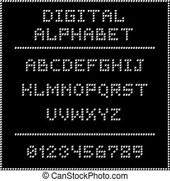 White digital alphabet