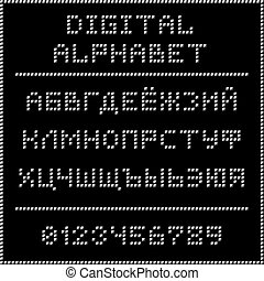 White digital cyrillic alphabet