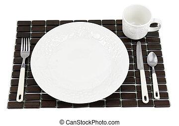 White dinner plate setting