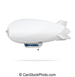 White dirigible balloon on a white background.