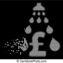 White Disappearing Pixel Halftone Pound Laundering Icon