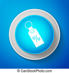White Discount percent tag icon isolated on blue background. Shopping tag sign. Special offer sign. Discount coupons symbol. Circle blue button with white line. Vector Illustration