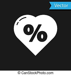 White Discount percent tag in heart icon isolated on black background. Shopping tag sign. Special offer sign. Discount coupons symbol. Vector Illustration
