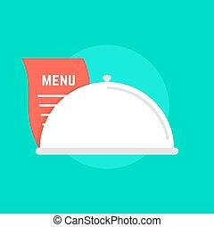 white dish icon with menu