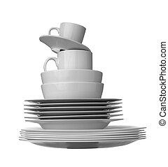 white dishes kitchen - close up of stack of white ceramic...