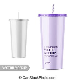 White disposable glossy cup with lid and straw. - White...