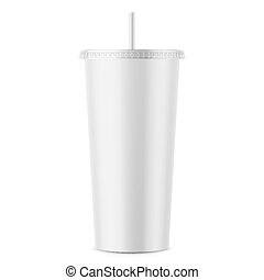 White disposable paper cup with lid and straw. - White paper...