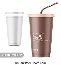 White disposable plastic cup with lid and straw. - White...