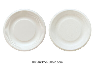 white disposable plate isolated on white with clipping path