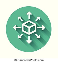 White Distribution icon isolated with long shadow. Content distribution concept. Green circle button. Vector Illustration